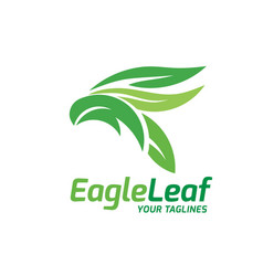 eagle head created with green leaves vector image