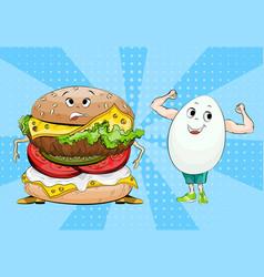 Egg and hamburger healthy food and fast food vector
