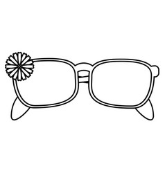 Female glasses flower decorative thin line vector