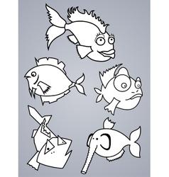 Fish set vector image