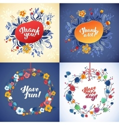 floral frame with yellow and blue flowers vector image