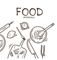 Food all delicious kitchenware background i vector