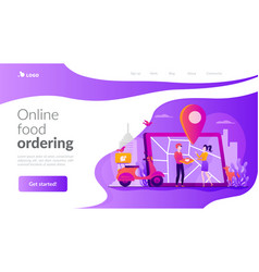 food delivery service landing page template vector image
