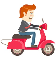 Funny hipster businessman character riding red vector