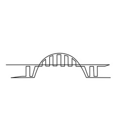 giant bridge over river continuous one line vector image