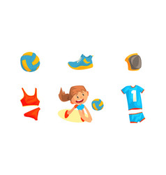 girl playing with ball on beach and sport vector image