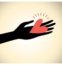 Greeting card hand with heart vector