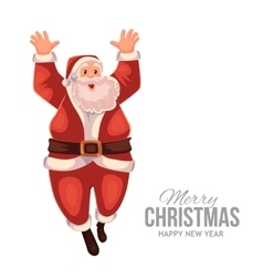 Greeting card with cartoon Santa Claus jumping in vector image