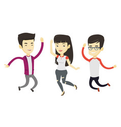 Group joyful young people jumping vector