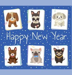 happy new year pets poster vector image