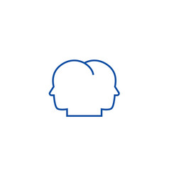head in head line icon concept head in head flat vector image