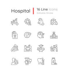 Hospital linear icons set vector