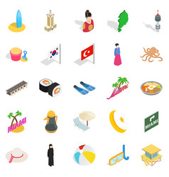 Hostelry icons set isometric style vector