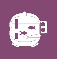 Icon astronaut helmet with fish vector