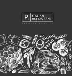 italian pasta with additions design template hand vector image