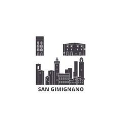italy san gimignano city flat travel skyline set vector image