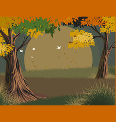 Leaves falling scene vector