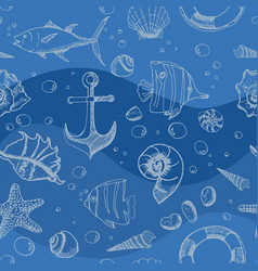 marine seamless pattern hand drawn sea elements vector image