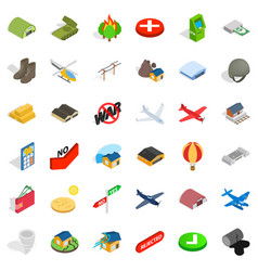 military sphere icons set isometric style vector image