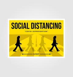 Minimalist social distancing flat poster design vector