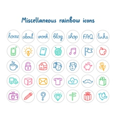 Miscellaneous doodle icons color on white vector image