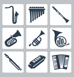 musical instruments pipes harmonica and accordion vector image