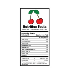 Nutrition facts cherry vector