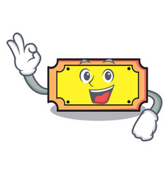 okay ticket character cartoon style vector image