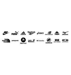 Outdoor sport clothes brand logo set editorial vector