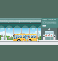 people getting on bus at bus terminal vector image
