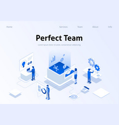 Perfect team metaphor service isometric banner vector