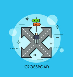 person standing on crossroad in front double vector image