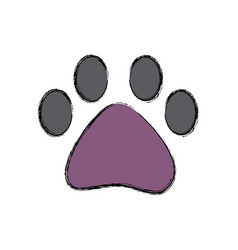 pet paw print walk animal silhouette vector image