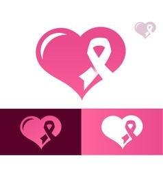 Pink ribbon heart awarness logo icon vector