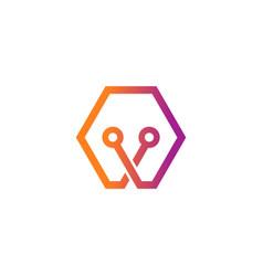 polygon dot connection logo vector image