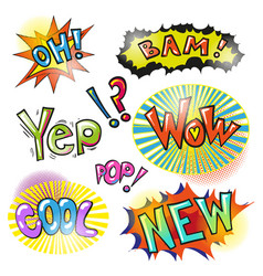Pop art modern patches and speech bubbles vector