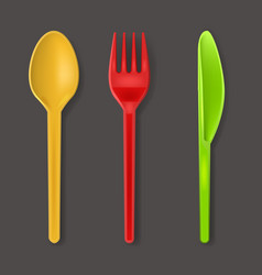 realistic detailed 3d color plastic cutlery set vector image