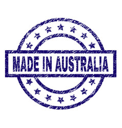 Scratched textured made in australia stamp seal vector