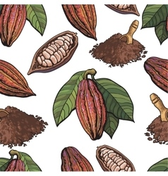 Seamless pattern of cacao fruit beans powder on vector