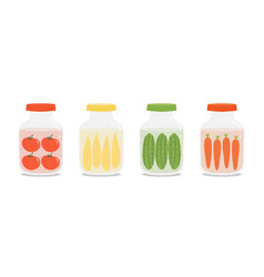Set collection of pickles jars vector