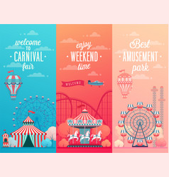 set of amusement park landscape banners with vector image