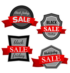 set of four black friday sale badges vector image