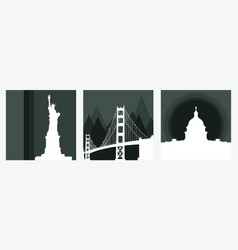 set of square banners with american landmarks vector image