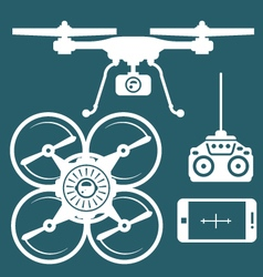 Silhouette of quadcopter and remote control vector