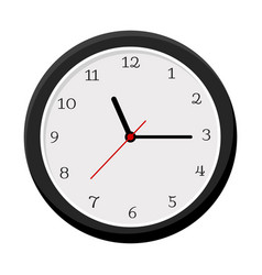 Simple wall clock isolated on white vector