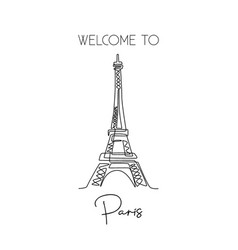single continuous line drawing eiffel tower vector image