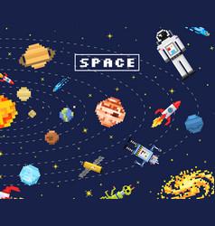 Space background alien spaceman robot rocket vector