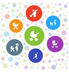 Stroller icons vector
