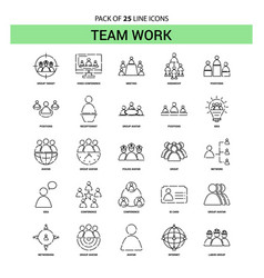 team work line icon set - 25 dashed outline style vector image
