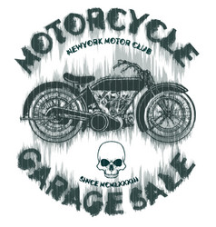 tee vintage motorbike race hand drawing t-shirt vector image